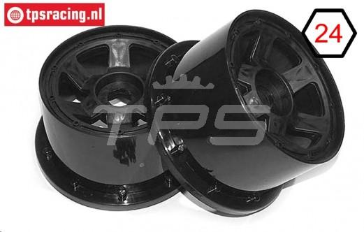 TPS5028/80B Nylon Rim 6-Spoke Black Ø120-W80 mm, 2 pcs.