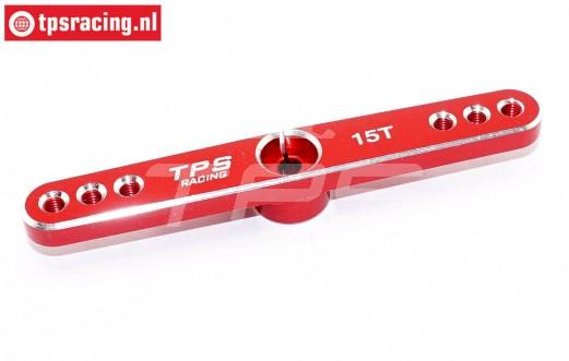 TPS0850/04 Aluminium Servo arm 15T-L73 mm Red, 1 pc.