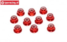 TPS1223/01 Aluminum lock nut with flange M3 Red, 10 pcs.