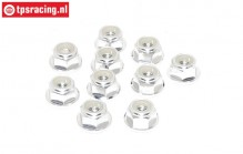 TPS1224/03 Aluminum lock nut with flange M4 Silver, 10 pcs.