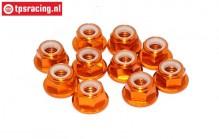TPS1225/0 Aluminum lock nut M5 Orange, 10 pcs.