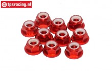 TPS1225/01 Aluminum lock nut with flange M5 Red, 10 pcs.