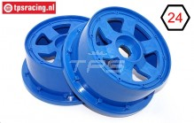 TPS5026/60BL Nylon Rim 6-Spoke Bleu Ø120-W60 mm, 2 pcs.