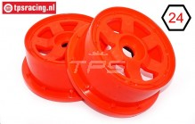 TPS5026/60RE Nylon Rim 6-Spoke Red Ø120-W60 mm, 2 pcs.