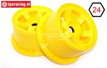 TPS5028/80YE Nylon Rim 6-Spoke W80 mm Yellow, 2 pcs.