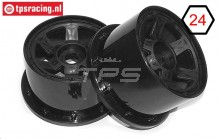 TPS5028/80B Nylon Rim 6-Spoke Black Ø120-W80 mm, 2 pcs.
