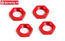 BWS55016R Wheel nut Red Ø24 mm, 4 pcs.