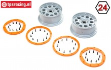 LOS45032 LOSI DBXL-E 2.0 Rims Grey/Orange, Set