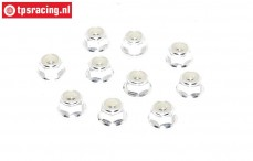 TPS1223/03 Aluminum lock nut with flange M3 Silver, 10 pcs.