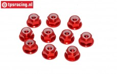 TPS1224/01 Aluminum lock nut with flange M4 Red, 10 pcs.