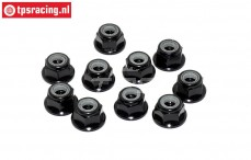 TPS1224/02 Aluminum lock nut with flange M4 Black, 10 pcs.