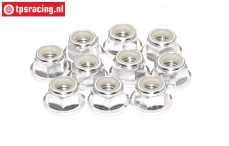TPS1225/03 Aluminum lock nut with flange M5 Silver, 10 pcs.