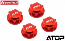 AT-5T004R ATOP Closed wheel nuts Red LOSI-BWS, 4 pcs