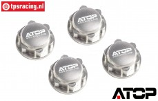 AT-5T004S ATOP Closed wheel nuts Silver LOSI-BWS, 4 pcs