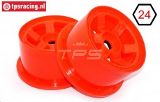 TPS5028/80RE Nylon Rim 6-Spoke W80 mm Red, 2 pcs.