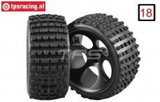 FG60210/06 Wide Medium Buggy tires gleud on black rims, 2 pcs.