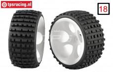 FG60210/05 Wide Medium Buggy tires gleud on white rims, 2 pcs.