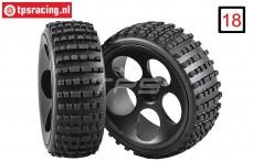 FG60215/06 Narrow Medium Buggy tires on black rims, 2 pcs.