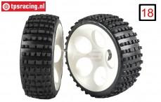 FG60215/05 Narrow Medium Buggy tires on white rims, 2 pcs.