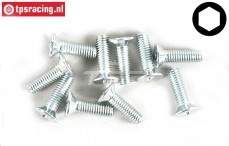 FG6719/10 Countersunk hex M3-L10 mm, 10 pcs.