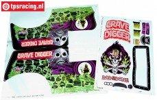 LOS240014 LMT Grave Digger body Clear, 1 pc.