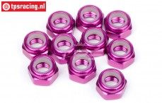 HPIZ867 Alloy Lock Nut M4 Purple, 10 pcs