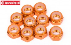 HPIZ868 Alloy Lock-Nut M4 Orange, 10 pcs