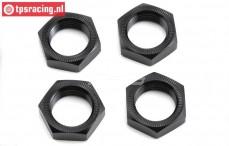 LOS252051 Aluminium Wheelnut black MTXL, 4 pcs