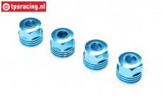 LOS253032 Alu Shock absorber cap bottom blue SBR-2.0-SRR, 4 pcs.