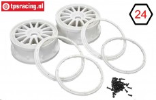 LOS45001 Rims with beadlock White Ø125-W65 mm, Set