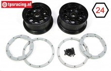 LOS45015 Rim with Beadlock DBXL-E Black-Grey, Set