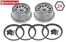 LOS45022 Wheel with beadlock grey, Set