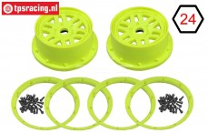 LOS45024 Wheel with beadlock Yellow, Set