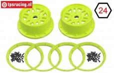 LOS45024 Wheel with beadlock Yellow, Set