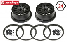LOS45025 Wheel with beadlock Black, Set