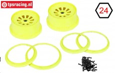 LOSB7035 Rims with beadlock neon yellow Ø120-W60 mm, Set