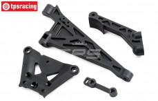 Front and rear chassis brace, (LOSI 5IVE-B 4WD), (Plastic), Set