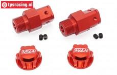 TPS0292/02R Aluminium Wheel adapter FG red/red, 4 pcs.